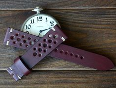 20x18mm browndark red leather watch strap by VladislavKostetskyi