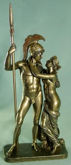 A statue of Aphrodite and Ares. Because Alectryon fell asleep, Ares and Aphrodite were caught together. Ares turned Alectryon into a rooster.