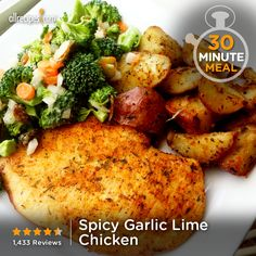 Spicy Garlic Lime Chicken   Ready in less than 30 minutes, this spicy, garlic lime chicken is perfect for a weeknight meal. — C. PEREZ