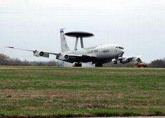 STRANGE MILITARY AIRCRAFT - AWACS MAKES HARD LANDING