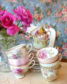 Tea cupsFind beautiful china pieces like this at www.etsy.com/shop/ButterflyTeaGarden
