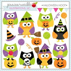 Halloween Hoot Cute Digital Clipart Commercial por JWIllustrations