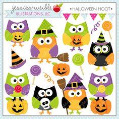 Halloween Hoot Cute Digital Clipart - Commercial Use OK - Halloween Owl Graphics, Halloween Clipart, Halloween Graphics, Owl Clipart