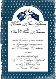 Cathedral Window Winter Wedding Invitation With Snowflake Printable