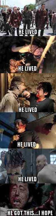 Yes I think he can survived from that dumption, with nicholas blood all over his body and escape from those Walkers, like in the past episodes...   #TheWalkingDeadSeason6 #saveGlenn
