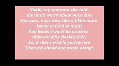 Meghan Trainor ~ All about that bass (lyrics I used to not like this but it's growing on me. I think the lyrics really apply to me and you. Music Mix, Music Love, Popular Bands, All About That Bass, Video Artist, Karaoke Songs, Independent Music, Meghan Trainor, Greatest Songs