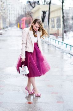burgundy tulle skirt pink romantic outfit
