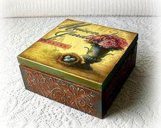 Cocina decoupage caja del té vintage Retra caja por TheSlavicSpirit