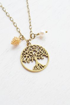 tree of life jewelry,tiny pine cone,pine cone necklace,christmas,winter jewelry,tree necklace,pinecone jewelry,antique brass,pearl,bff,family necklace,tree pendant,bridesmaid gift
