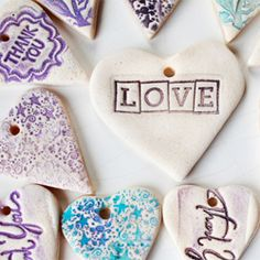 Easy for kids and school gift exchanges, make hearts with air dry clay, stamps, & paint