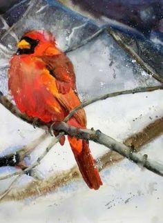 Male Cardinal in winter scene