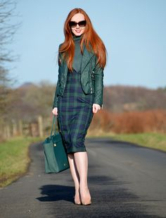 Collectif Blackwatch Check Pencil skirt and green leather biker jacket Plaid skirt outfits ideas what to wear plaid skirts Plaid Pencil Skirt, Pencil Skirt Outfits, Plaid Skirts, Pencil Skirts, Green Leather Jackets, Leather Jacket Outfits, Modest Fashion, Fashion Outfits, Leather Fashion