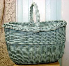 Shabby Chic Aqua Large Gathering Basket Vintage by rosiemoonbeams, $40.00