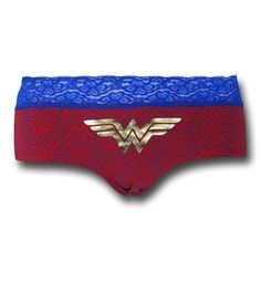 """The 95% cotton 5% spandex Wonder Woman Lace/Foil Women's Panty was bestowed upon us by the power of Laceicus, the Amazonian God of Lace. Yeah, I know, I know...that seems oddly specific but the Amazonians have a pretty rigid system of divine-based labor. I wouldn't try looking that up though...probably still a stub on Wikipedia. Anyways, the Wonder Woman Lace/Foil Women's Panty is great for you fans of DC Comics' Warrior Princess! <br /> <br /> <i><b>""""HIPSTER UNDERWEAR""""<br /> <br /> *Mid-Cov..."""