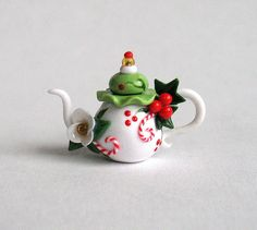 :: Crafty :: Clay ::☃ Christmas ☃:: Miniature Festive Christmas Blossom and Berries Teapot by ArtisticSpirit