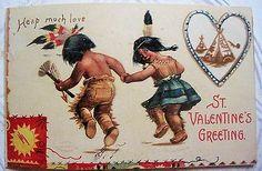 Antique Valentine Postcard Indian Children, Clapsaddle series 830, 1908