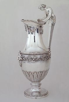 ❤ -Ewer, Marked by Jean-Baptiste-François Chéret (French, master in Paris Silver (has leaf pattern that matches my mustard pot) Vintage Silver, Antique Silver, Bronze, In Vino Veritas, Metal Working, Vases, Silver Plate, Tea Pots, Ancient Artifacts