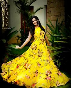 Frock Models Frock For Women Yellow Gown Frock Design Indian Gowns Anarkali Dress Lehenga Western Dresses Simple Dresses Long Gown Dress, Frock Dress, Saree Dress, Long Frock, Chiffon Dress Long, Frock Design, Indian Gowns Dresses, Indian Outfits, Evening Dresses