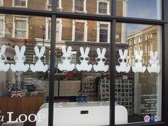 Bunnies in glasses window vinyl at the OG STORE.LDN #sunglasses #eyewear #olivergoldsmith #bunnies