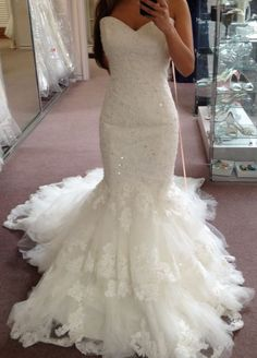 Elegant Mermaid Wedding Dresses Sweetheart Neck Tiers Lace Beading Bridal Gowns