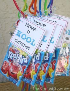 Kids end of year treat for classmates. no directions- but a pckg of koolaid and a twisty straw- You could be more inventive if you wanted..Maybe combine with the Smartie pants craft?