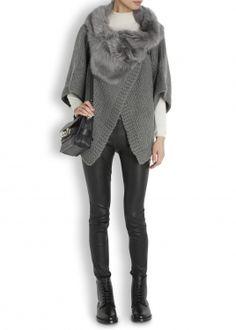 Grey shearling trimmed wool jacket