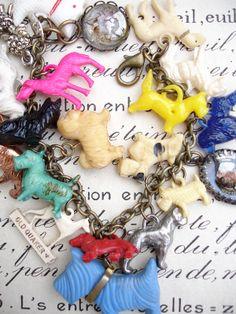 Paula Montgomery Vintage Dogs Charm Bracelet with Big Blue Scottie - vintage dogs charm bracelet, repurposed bracelet with dog charms includ...