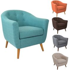 Baxton Studio Euterpe Mid-Century Fabric Tufted Armchair   Overstock.com Shopping - The Best Deals on Living Room Chairs