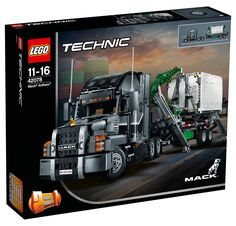 Experience the Mack Anthem truck and trailer first hand with this LEGO® Technic replica, featuring an array of authentic details and functions. Rebuilds into a replica of the iconic Mack LR garbage truck. Lego Technic Truck, Lego Technic Sets, Lego Truck, Mack Trucks, New Trucks, Lego Duplo, Chevrolet Corvette, Bugatti, Legos