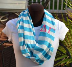 Monogrammed Infinity Scarf Aqua and White Stripe Knit Jersey