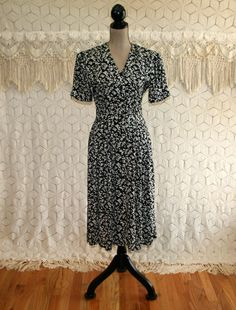 90s Black Floral Dress Rayon Button Up Short Sleeve Petite