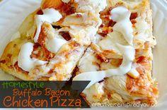 Buffalo Chicken Bacon Pizza - CreativeMeInspiredYou.com recipes, dinner ideas, pizza, pizza recipes, chicken, bacon, Frank's Red Hot Sauce, homemade pizza, easy pizza, ranch dressing, quick dinner ideas, inexpensive dinner ideas