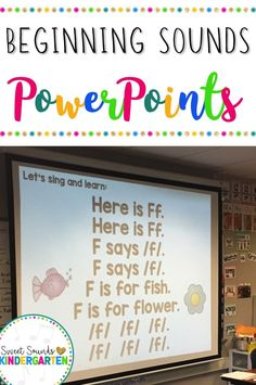 Beginning Sounds Interactive Powerpoints {Alphabet Powerpoints} These easy to use powerpoints are interactive and musical! The perfect activities to help keep kindergarten or first grade students engaged while they practice letters and beginning sounds! Teaching Phonics, Kindergarten Literacy, Kindergarten Reading, Kindergarten Classroom, Teaching Reading, Beginning Sounds Kindergarten, Teaching Resources, Music Classroom, Guided Reading