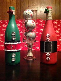 Santa Wine Bottle, Elf Wine Bottle and Snowman Trio in a Jar!  Girls Christmas Weekend 2013!  JACKIE WE MISSED YOU!!