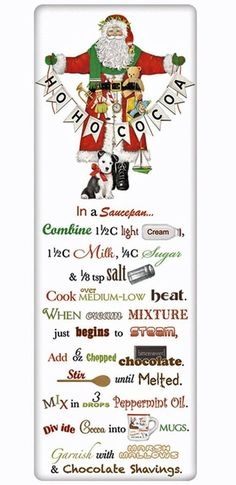 Santa's Hot Cocoa Recipe 100% Cotton Flour Sack Dish Towel Tea Towel