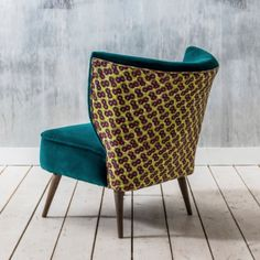 Gorgeous Cocktail chairs from UK retailer Graham and Green, upholstered in jewel-toned velvets and complementary African print wax textiles. Green Armchair, Retro Armchair, African Furniture, Teal Chair, Cool Chairs, Arm Chairs, Dining Chairs, Blue Chairs, Accent Chairs