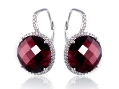 Diamond And Garnet Drop Earrings Sapphire And Diamond Earrings, Garnet Stone, Stone Rings, Round Diamonds, Amethyst, White Gold, Bling, Gemstones, Hair