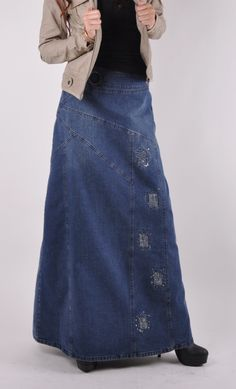 Graceful Twilight Long Jean Skirt