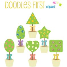 Polygon Pot Plants Clip Art for Scrapbooking Card by DoodlesFirst