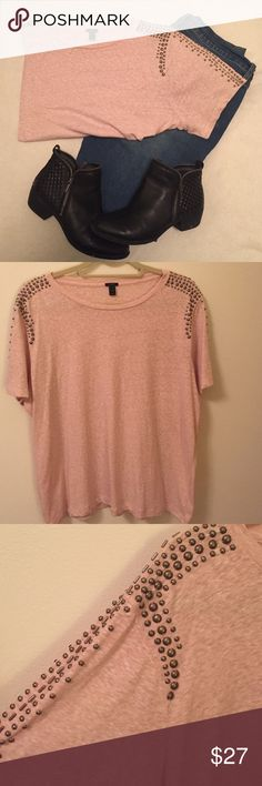 ✨SALE✨ J. Crew Embellished Tee J. Crew blush pink tshirt with stud detailing on shoulders and sleeves. Great condition! Only worn once! Tops Tees - Short Sleeve