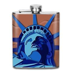 ZHONGJIAN Statue Of Liberty Illustration Flask Portable Stainless Steel Flagon Wine Bottle 7oz 206ml >>> You can find out more details at the link of the image. (This is an affiliate link) #LiquorWineFlasks
