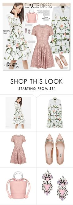 """""""Lace dress"""" by anne-irene ❤ liked on Polyvore featuring Ted Baker, Burberry, Miu Miu, Erickson Beamon, lacedress and FloralCoat"""