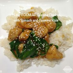 Sesame Chicken and Spinach Over Jasmine Rice
