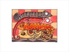 Ein Original.  Herstellungsjahr: 2013  KunstRaub Aktion Nr. 6: MusterHäuser.  Afrikanische traditionelle HausKunst  +Auch noch heute halten...