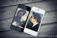 Fun Cell Phone Wedding Pose of Bride Kissing Groom