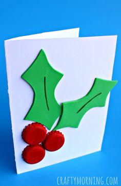 Bottle Cap Holly Craft (Christmas Card Idea) #kidscraft   CraftyMorning.com