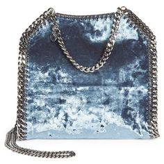 Stella McCartney Small Velvet Shoulder Bag (7,185 CNY) ❤ liked on Polyvore featuring bags, handbags, shoulder bags, blue shoulder bag, man bag, blue handbags, chain strap shoulder bag and shoulder strap purses