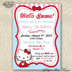 Hello Kitty Birthday Invitation Customizable DIY 5x7 Printable Color Choices Pink/Teal, Blue Dot, or Pink/Blue/Red on Etsy, $15.00