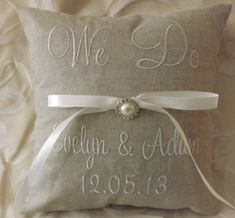 Personalized Embroidered Ring Bearer Pillow by ElegantThreadsEtc, $32.95