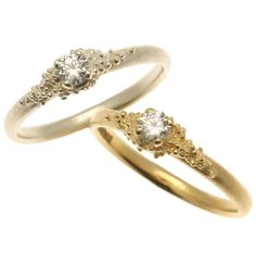 hannah bedford - 18ct yellow gold and 9ct white gold cluster diamond rings